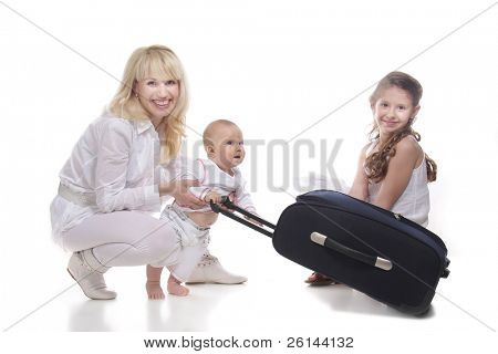 happy family ready for travels over white