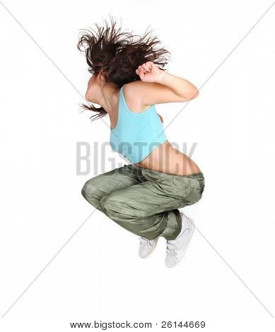 young attractive woman jumping isolated over white