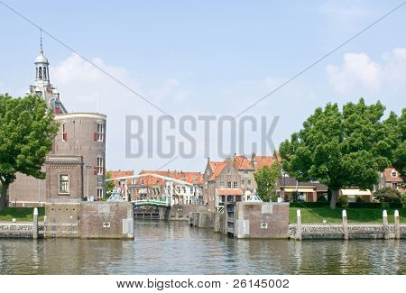 The old fisherman's village of Enkhuizen, the Netherlands, with its fortified harbor entrance