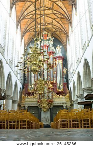 The organ and interior of the Bavo Protestant Church in Haarlem, Netherlands