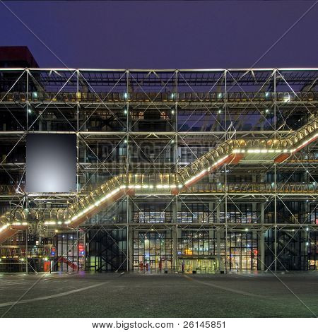 The steel structure of the Centre Pompidu at night