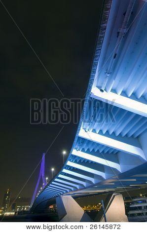 The famous Erasmus suspension bridge in Rotterdam, the Netherlands, seen from below.