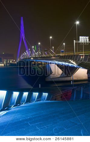 The famous Erasmus Bridge, seen from the boardwalk, next to the river front.