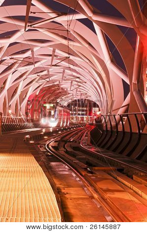 The modern, stylish elevated tram tube in Den Haag (the Hague), the Netherlands