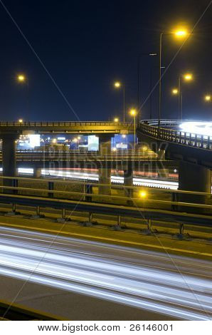 The viaducts of a motorway junction at night
