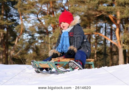 Girl Sledding In Sunny Winter Day