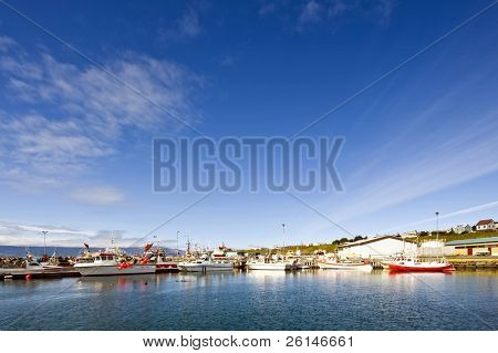 The small fishing fleet of Iceland's most Northern town, Husavik, located above the polar circle.