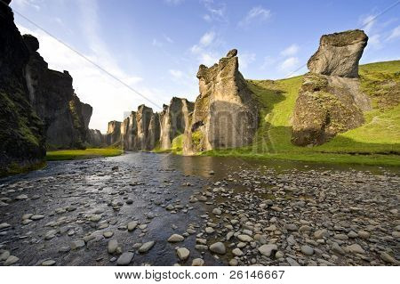 An ancient Canyon in Hunkarbakkar, Iceland, where the different layers of volcanic branch pipes have created hard structures, Over time, the softer ashes and eruption debris has been eroded away