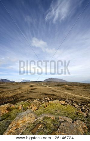 The table mountains and the volcanoes of the Katla System in Iceland, with the empty barren lava fields in the Middalsfjall region