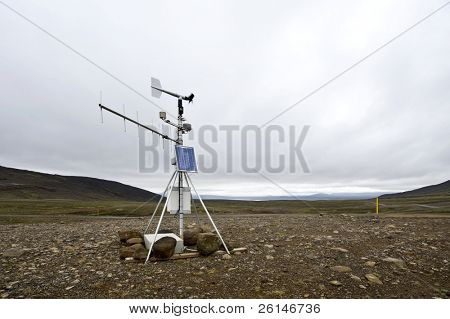 A solar powered weather station and transmitting aerial along the Kjolur Highland route in the Tundras of Iceland on a typical Icelandic overcast day.