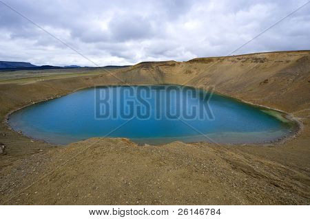 The Viti (Hell) Caldera Lake in the Krafla volcanic system near Myvatn, Iceland