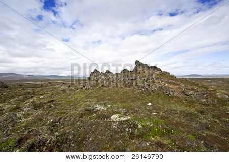 The extensive lava fields with its erratic shapesnear Hveravellir and the Kjolur Highland route in Iceland