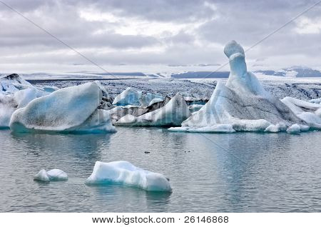The famous Jokulsarlon glacier lake in Iceland, where the icebergs, originating from the Vatnajokull float. This location was used for various action movies.
