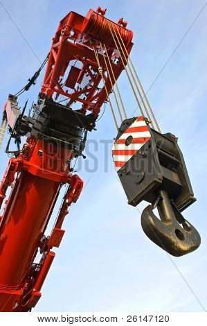 A close up of the hoisting rig and part of the telescopic arm of the worlds largest mobile crane