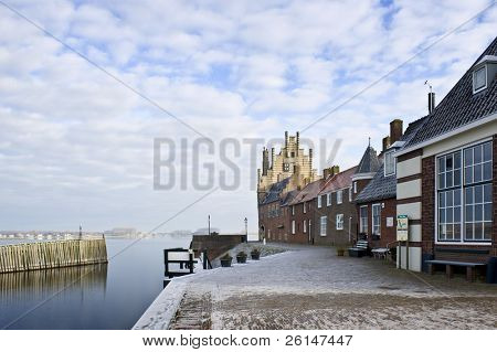 The picturesque town of Veere, Zeeland, the Netherlands, on a cold winter day