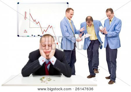Three unhappy employees, angry at their indecisive boss, in front of a whiteboard showing a negative graph, representing the state of a business in financial crisis