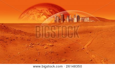 Fantasy image of city under a glass dome on red desert planet. The image is saturated red, and there are no people visible. Horizontally framed shot.