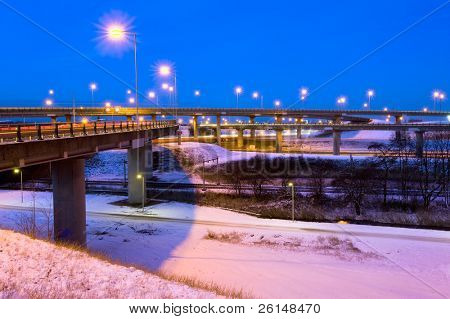 Large intersection on a winter night