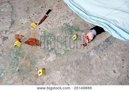 eine überdachte Leiche, mit einer blutigen Hand ragte aus unter die Verkleidung, umgeben durch Beweise