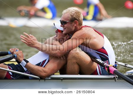 BOSBAAN, AMSTERDAM - JULY 23: Massy and Gallagher (USA's Men's Quadruple Sculls) progress through to the finals. On July 23, 2011 Bosbaan, Amsterdam, Netherlands