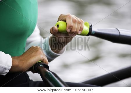 Close up of hands and oar handles of a woman's single sculls rower