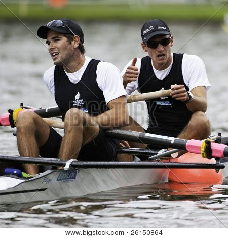 AMSTERDAM-JULY 23: Raply and Svoboda (New Zealand BLM2-) are exhausted after winning silver at the finals of the world championships under 23. On July 22, 2011 in Bosbaan, Amsterdam, The Netherlands