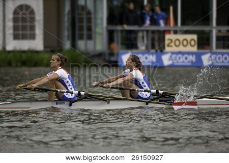 AMSTERDAM-JULY 23: Woerner and Leijssen (Dutch  BLW2x ) race for a place in the finals of the world championships under 23. On July 22, 2011 in Bosbaan, Amsterdam, The Netherlands