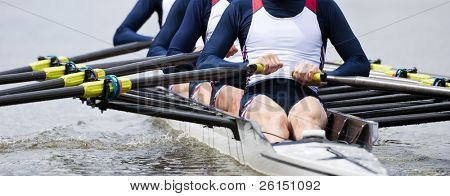 Rowing team at the start of a regatta
