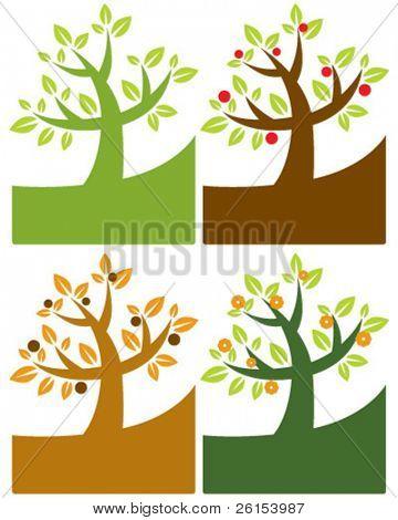 Stylized tree four seasons