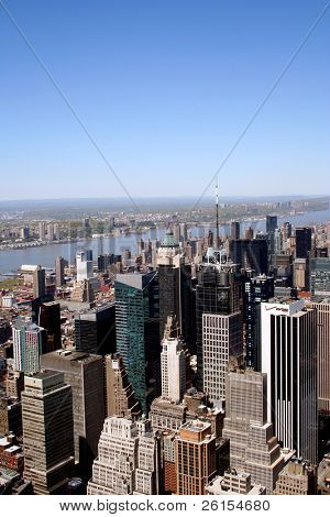 View of skyscrapers along Manhattan New York