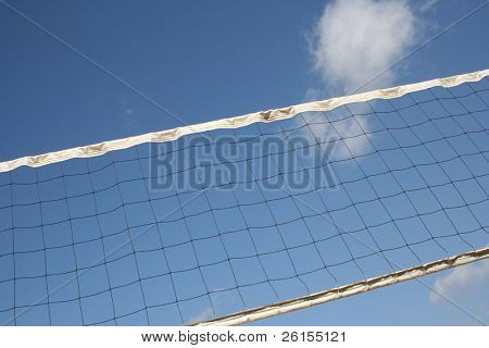 Angles volleyball court net with clouds