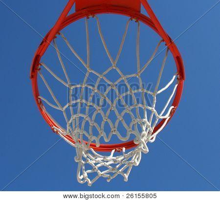 Underside of a basketball hoop