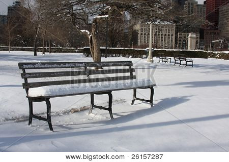 Snow covered bench in a Chicago Park