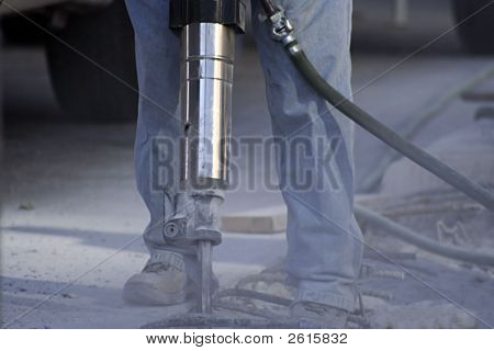 Construction Worker With Jack Hammer