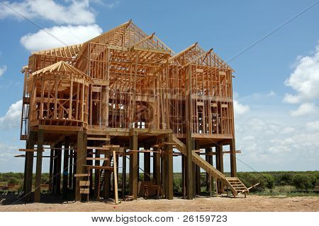 New House under construction on stilts