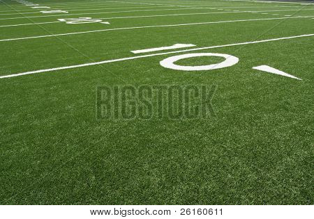 American football field numbered yard lines