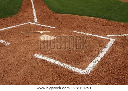 Baseball & bat near home plate