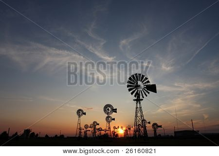 Country Windmills at Sunset