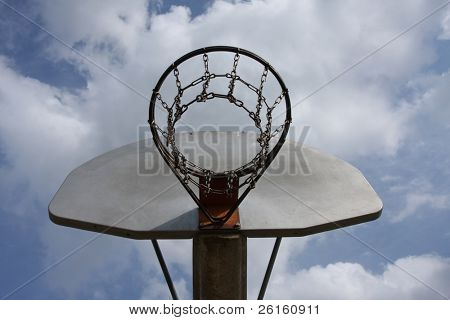 Basketball against a cloudy sky