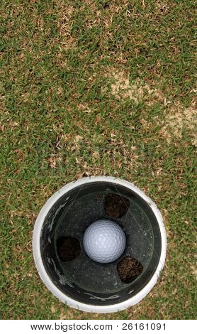 Golf Ball in the Hole with Room for Copy Above