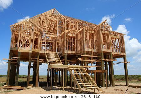New House on stilts under construction