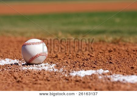 Baseball on the field with room for copy
