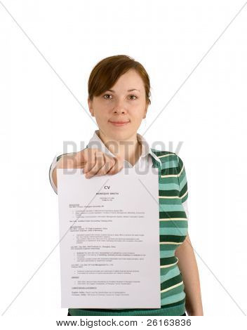 woman looking for a new job, showing her CV, CV is blurred, and surname is Smith as an example