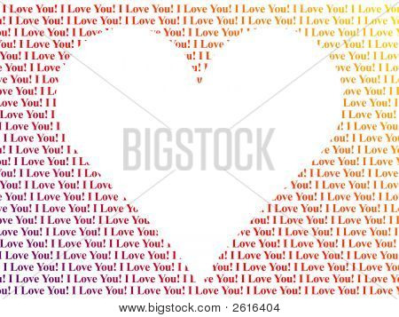 Heart Shaped Words I Love You