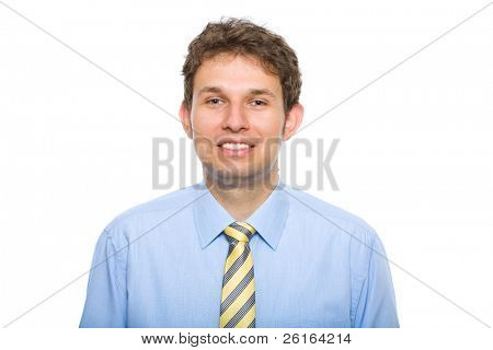 young businessman wearing blue and yellow, studio shoot isolated on white background