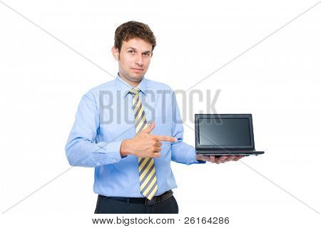 young adult, businessman point to small 10 inch laptop, netbook screen, recommending or suggesting, studio shoot isolated on white background