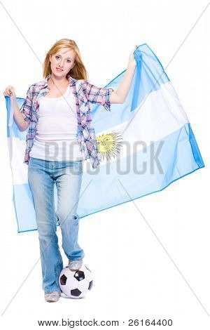 young happy supporter of argentina soccer team, studio shoot isolated on white background