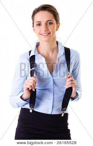 Geschäftsfrau in blauen Shirt, schwarz Rock und Klammern, junge optimistisch Gesicht, Studio Shoot isola