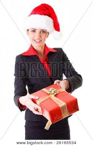 attractive businesswoman with gift wrapped in red paper, business christmas concept, studio shoot isolated on white