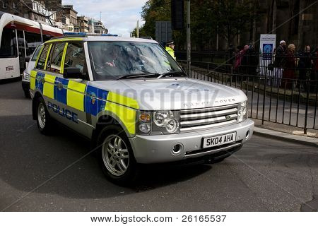 EDINBURGH, SCOTLAND, UK - SEPTEMBER 16: Police Range Rover from Pope escort on Princes Street , September 16, 2010 in Edinburgh, Scotland, United Kingdom.